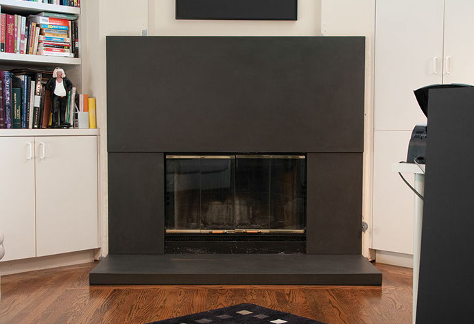 urban concrete fireplace surround by sonoma cast stone