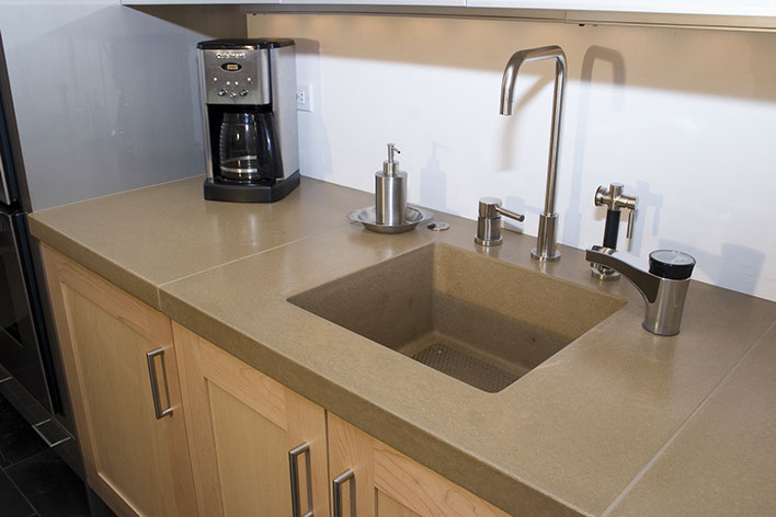 Perfect Integrated Concrete Kitchen, Bar And Prep Sinks