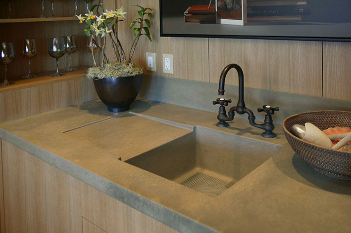 Perfect Integrated Concrete Kitchen Sinks
